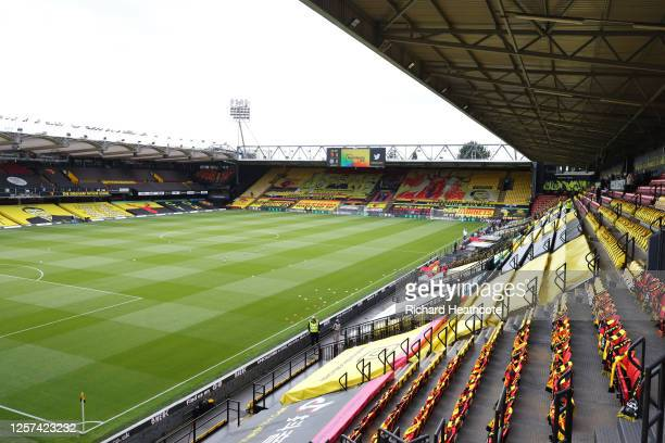 General view inside the stadium prior to the Premier League match between Watford FC and Manchester City at Vicarage Road on July 21, 2020 in...