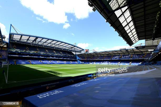General view inside the stadium prior to the Premier League match between Chelsea FC and Wolverhampton Wanderers at Stamford Bridge on July 26, 2020...