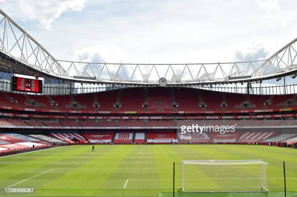 General view inside the stadium prior to the Premier League match between Arsenal FC and Watford FC at Emirates Stadium on July 26, 2020 in London,...