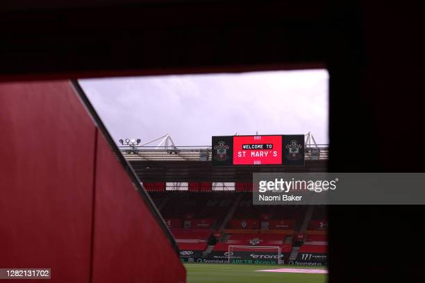 General view inside the stadium prior to the Premier League match between Southampton and Everton at St Mary's Stadium on October 25, 2020 in...