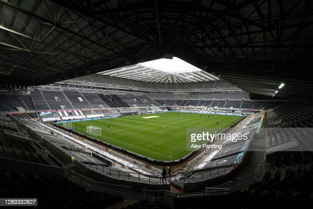 General view inside the stadium prior to the Premier League match between Newcastle United and Everton at St. James Park on November 01, 2020 in...