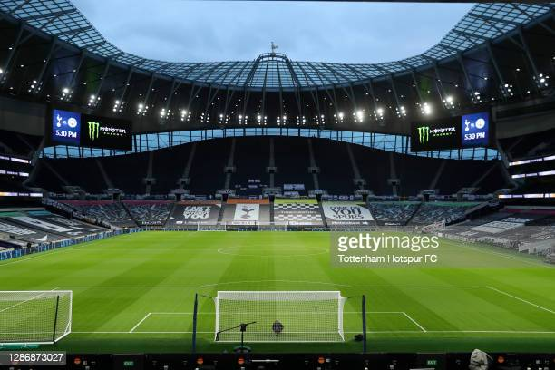 General view inside the stadium prior to the Premier League match between Tottenham Hotspur and Manchester City at Tottenham Hotspur Stadium on...
