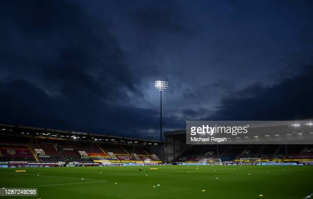 General view inside the stadium prior to the Premier League match between Burnley and Crystal Palace at Turf Moor on November 23, 2020 in Burnley,...
