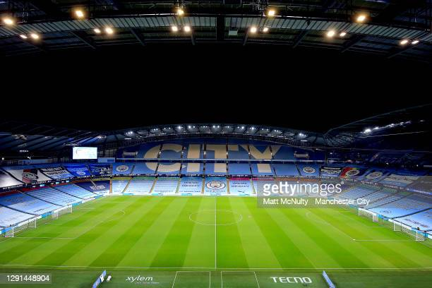 General view inside the stadium prior to the Premier League match between Manchester City and West Bromwich Albion at Etihad Stadium on December 15,...
