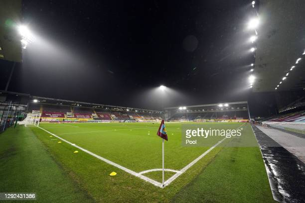 General view inside the stadium prior to the Premier League match between Burnley and Wolverhampton Wanderers at Turf Moor on December 21, 2020 in...
