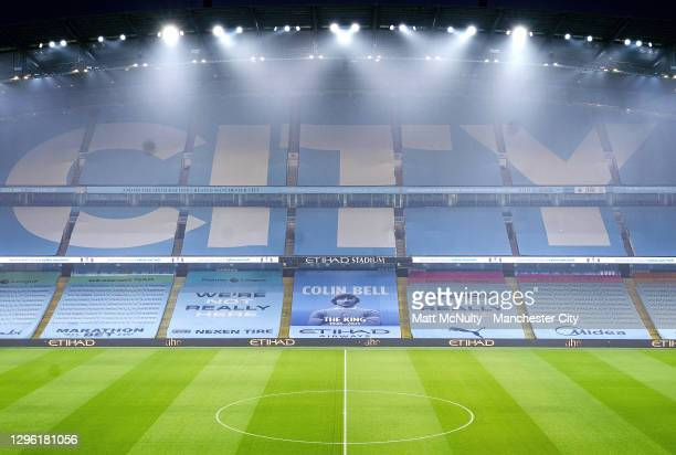 General view inside the stadium prior to the Premier League match between Manchester City and Brighton & Hove Albion at Etihad Stadium on January 13,...