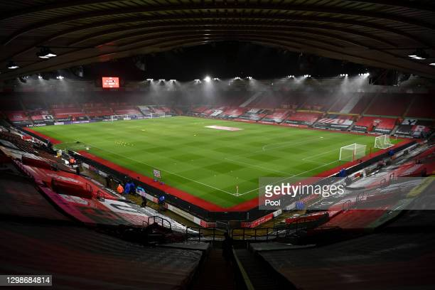 General view inside the stadium prior to the Premier League match between Southampton and Arsenal at St Mary's Stadium on January 26, 2021 in...