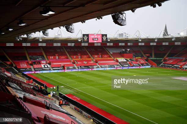 General view inside the stadium prior to the Premier League match between Southampton and Wolverhampton Wanderers at St Mary's Stadium on February...