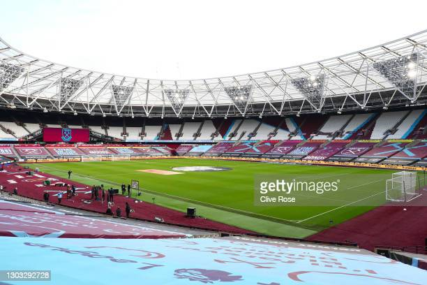 General view inside the stadium prior to the Premier League match between West Ham United and Tottenham Hotspur at London Stadium on February 21,...