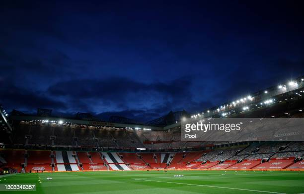 General view inside the stadium prior to the Premier League match between Manchester United and Newcastle United at Old Trafford on February 21, 2021...