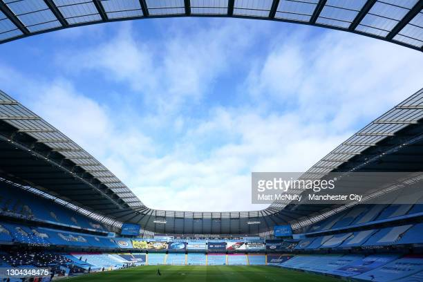 General view inside the stadium prior to the Premier League match between Manchester City and West Ham United at Etihad Stadium on February 27, 2021...