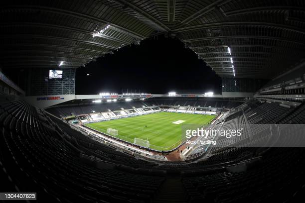 General view inside the stadium prior to the Premier League match between Newcastle United and Wolverhampton Wanderers at St. James Park on February...