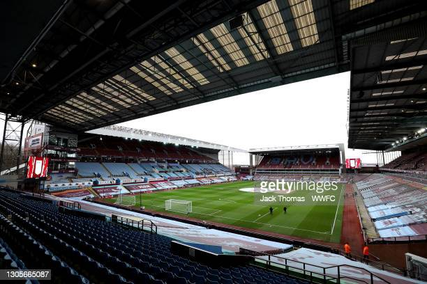 General view inside the stadium prior to the Premier League match between Aston Villa and Wolverhampton Wanderers at Villa Park on March 06, 2021 in...