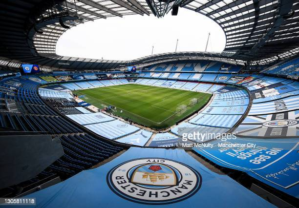 General view inside the stadium prior to the Premier League match between Manchester City and Manchester United at Etihad Stadium on March 07, 2021...