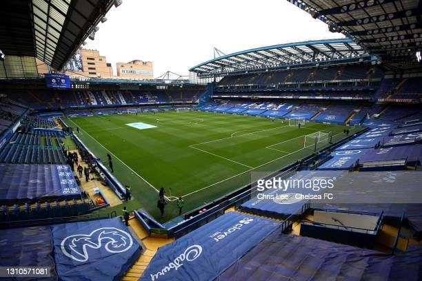 General view inside the stadium prior to the Premier League match between Chelsea and West Bromwich Albion at Stamford Bridge on April 03, 2021 in...