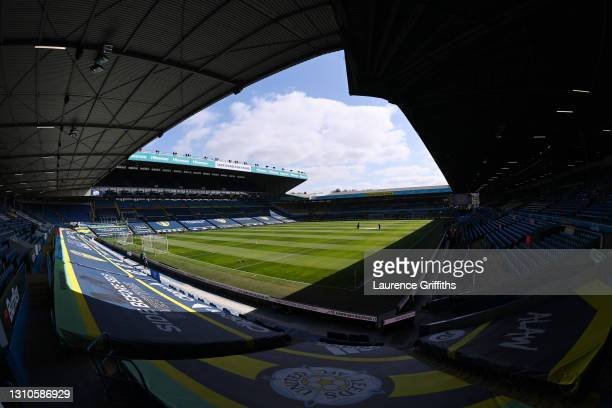 General view inside the stadium prior to the Premier League match between Leeds United and Sheffield United at Elland Road on April 03, 2021 in...