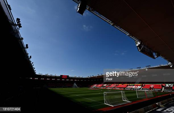 General view inside the stadium prior to the Premier League match between Southampton and Burnley at St Mary's Stadium on April 04, 2021 in...