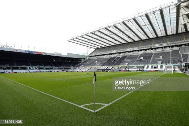 General view inside the stadium prior to the Premier League match between Newcastle United and West Ham United at St. James Park on April 17, 2021 in...