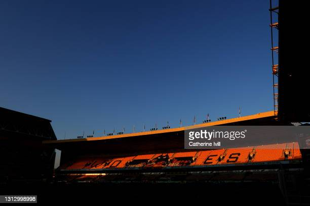 General view inside the stadium prior to the Premier League match between Wolverhampton Wanderers and Sheffield United at Molineux on April 17, 2021...