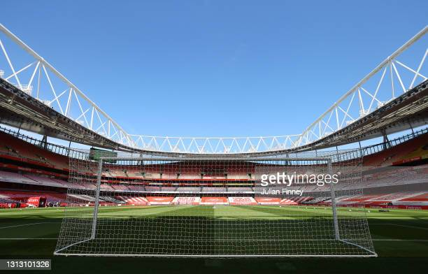 General view inside the stadium prior to the Premier League match between Arsenal and Fulham at Emirates Stadium on April 18, 2021 in London,...
