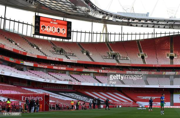 General view inside the stadium prior to the Premier League match between Arsenal and West Bromwich Albion at Emirates Stadium on May 09, 2021 in...