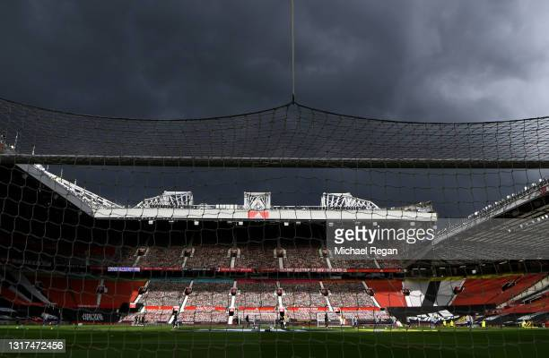 General view inside the stadium prior to the Premier League match between Manchester United and Leicester City at Old Trafford on May 11, 2021 in...