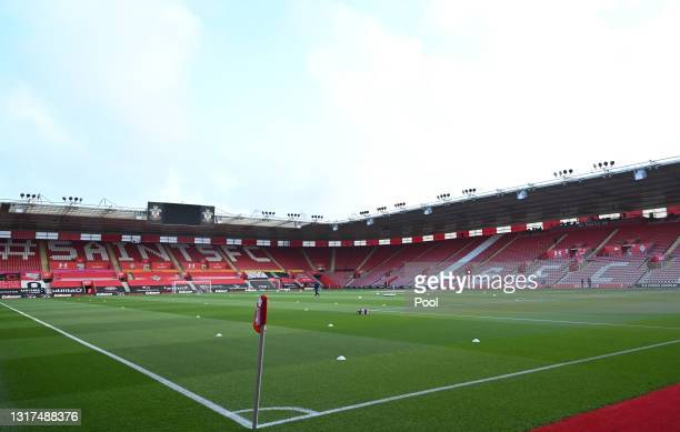 General view inside the stadium prior to the Premier League match between Southampton and Crystal Palace at St Mary's Stadium on May 11, 2021 in...