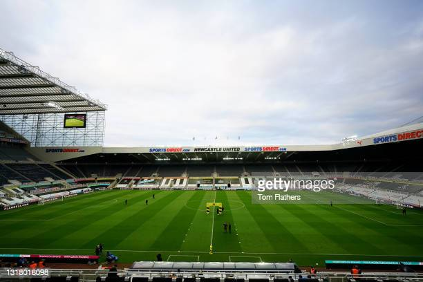 General view inside the stadium prior to the Premier League match between Newcastle United and Manchester City at St. James Park on May 14, 2021 in...