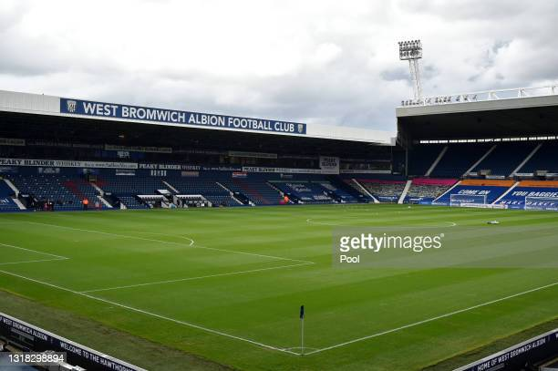 General view inside the stadium prior to the Premier League match between West Bromwich Albion and Liverpool at The Hawthorns on May 16, 2021 in West...