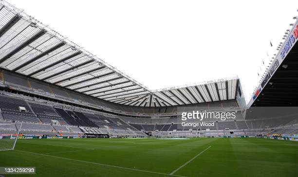 General view inside the stadium prior to the Premier League match between Newcastle United and West Ham United at St. James Park on August 15, 2021...