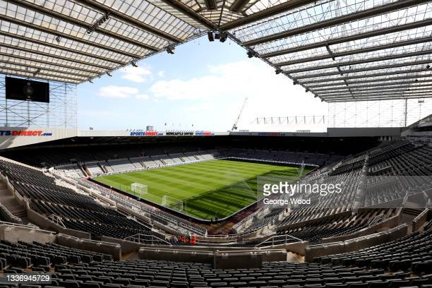 General view inside the stadium prior to the Premier League match between Newcastle United and Southampton at St. James Park on August 28, 2021 in...
