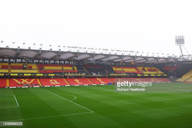 General view inside the stadium prior to the Premier League match between Watford and Liverpool at Vicarage Road on October 16, 2021 in Watford,...