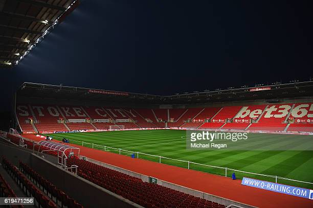 A general view inside the stadium prior to the Premier League match between Stoke City and Swansea City at Bet365 Stadium on October 31 2016 in Stoke...