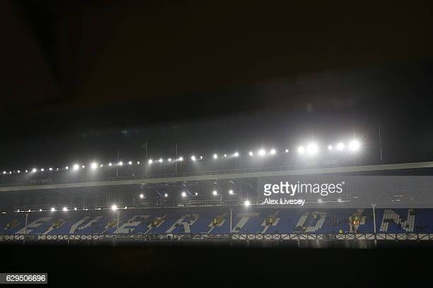 A general view inside the stadium prior to the Premier League match between Everton and Arsenal at Goodison Park on December 13 2016 in Liverpool...