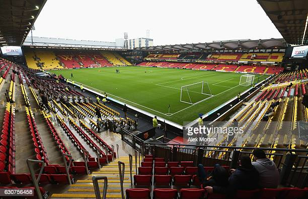 A general view inside the stadium prior to the Premier League match between Watford and Tottenham Hotspur at Vicarage Road on January 1 2017 in...