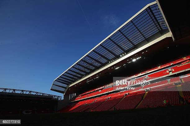 General view inside the stadium prior to the Premier League match between Liverpool and Swansea City at Anfield on January 21 2017 in Liverpool...