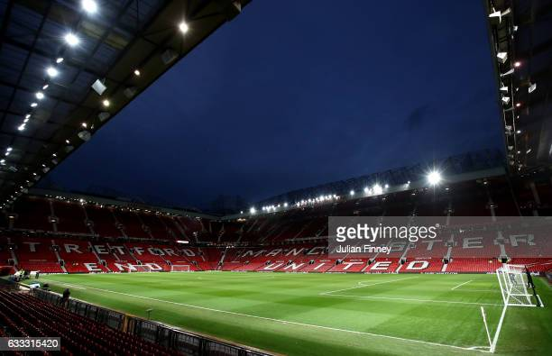 A general view inside the stadium prior to the Premier League match between Manchester United and Hull City at Old Trafford on February 1 2017 in...