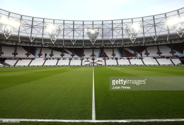 A general view inside the stadium prior to the Premier League match between West Ham United and Chelsea at London Stadium on March 6 2017 in...