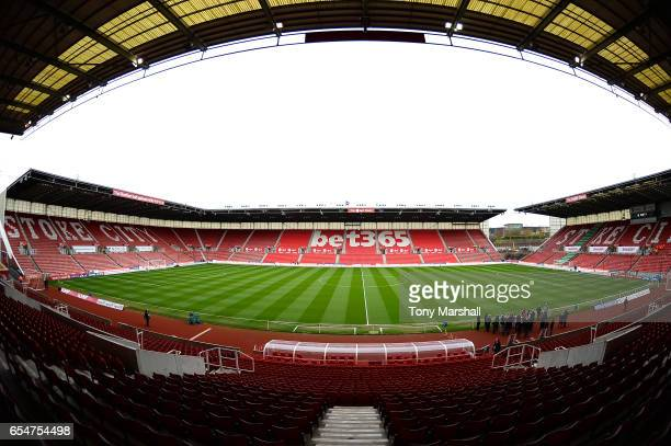 General view inside the stadium prior to the Premier League match between Stoke City and Chelsea at Bet365 Stadium on March 18 2017 in Stoke on Trent...