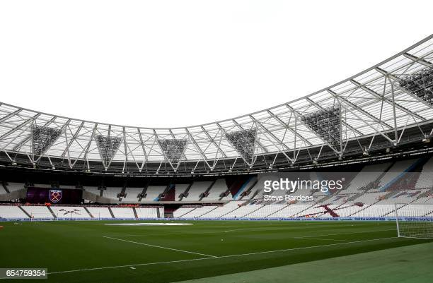 General view inside the stadium prior to the Premier League match between West Ham United and Leicester City at London Stadium on March 18 2017 in...