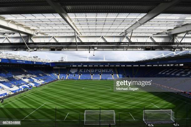 General view inside the stadium prior to the Premier League match between Leicester City and Stoke City at The King Power Stadium on April 1 2017 in...
