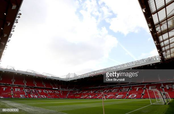 General view inside the stadium prior to the Premier League match between Manchester United and Everton at Old Trafford on April 4 2017 in Manchester...