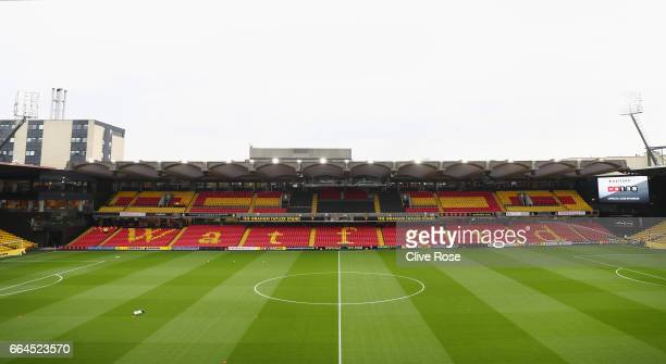 General view inside the stadium prior to the Premier League match between Watford and West Bromwich Albion at Vicarage Road on April 4 2017 in...
