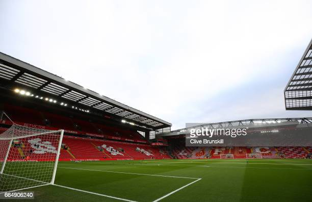 General view inside the stadium prior to the Premier League match between Liverpool and AFC Bournemouth at Anfield on April 5 2017 in Liverpool...