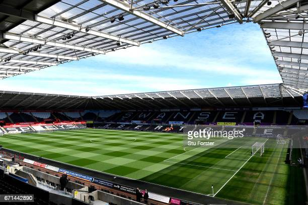 A general view inside the stadium prior to the Premier League match between Swansea City and Stoke City at the Liberty Stadium on April 22 2017 in...