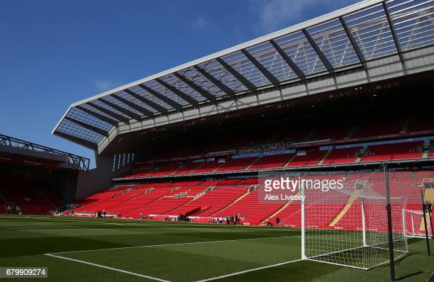 General view inside the stadium prior to the Premier League match between Liverpool and Southampton at Anfield on May 7 2017 in Liverpool England