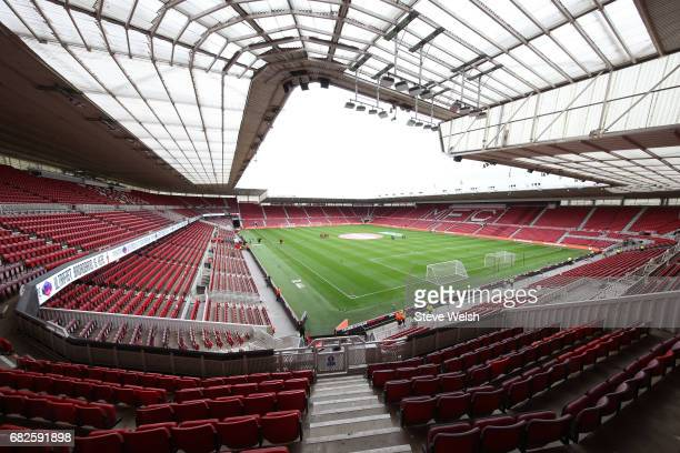 General view inside the stadium prior to the Premier League match between Middlesbrough and Southampton at Riverside Stadium on May 13 2017 in...