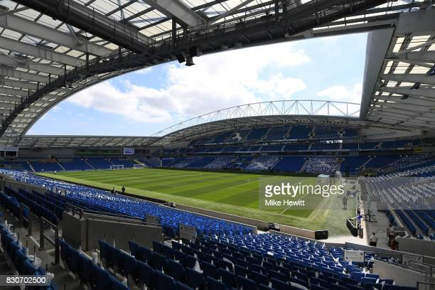 General view inside the stadium prior to the Premier League match between Brighton and Hove Albion and Manchester City at the Amex Stadium on August...