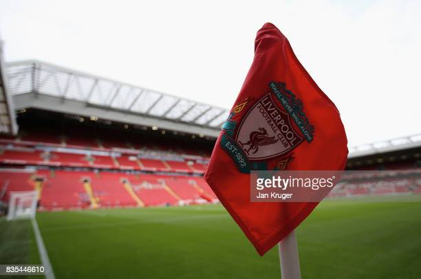 General view inside the stadium prior to the Premier League match between Liverpool and Crystal Palace at Anfield on August 19 2017 in Liverpool...