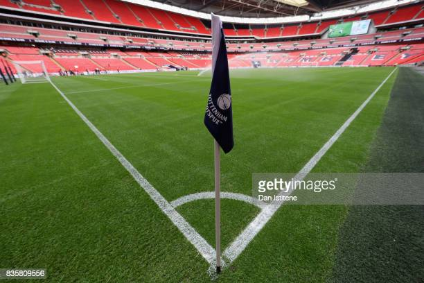 General view inside the stadium prior to the Premier League match between Tottenham Hotspur and Chelsea at Wembley Stadium on August 20 2017 in...